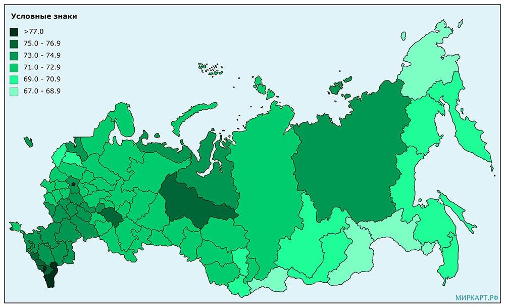Карта России продолжительность жизни по регионам