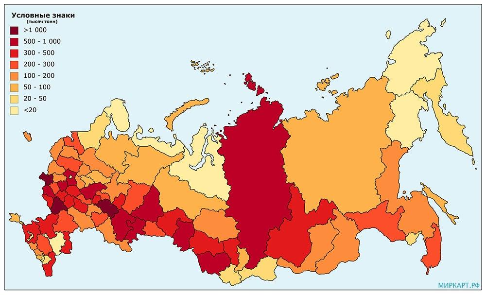 карта россии урожай картофеля